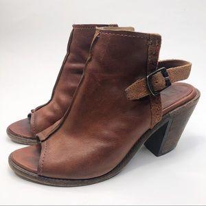 Frye Brown Leather Dani Shield Sling Back Booties